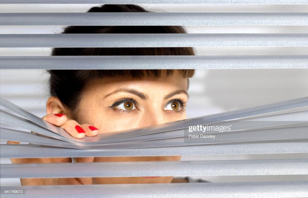 Image result for woman spying out her window