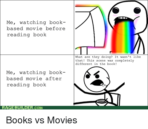Image result for book to movie memes